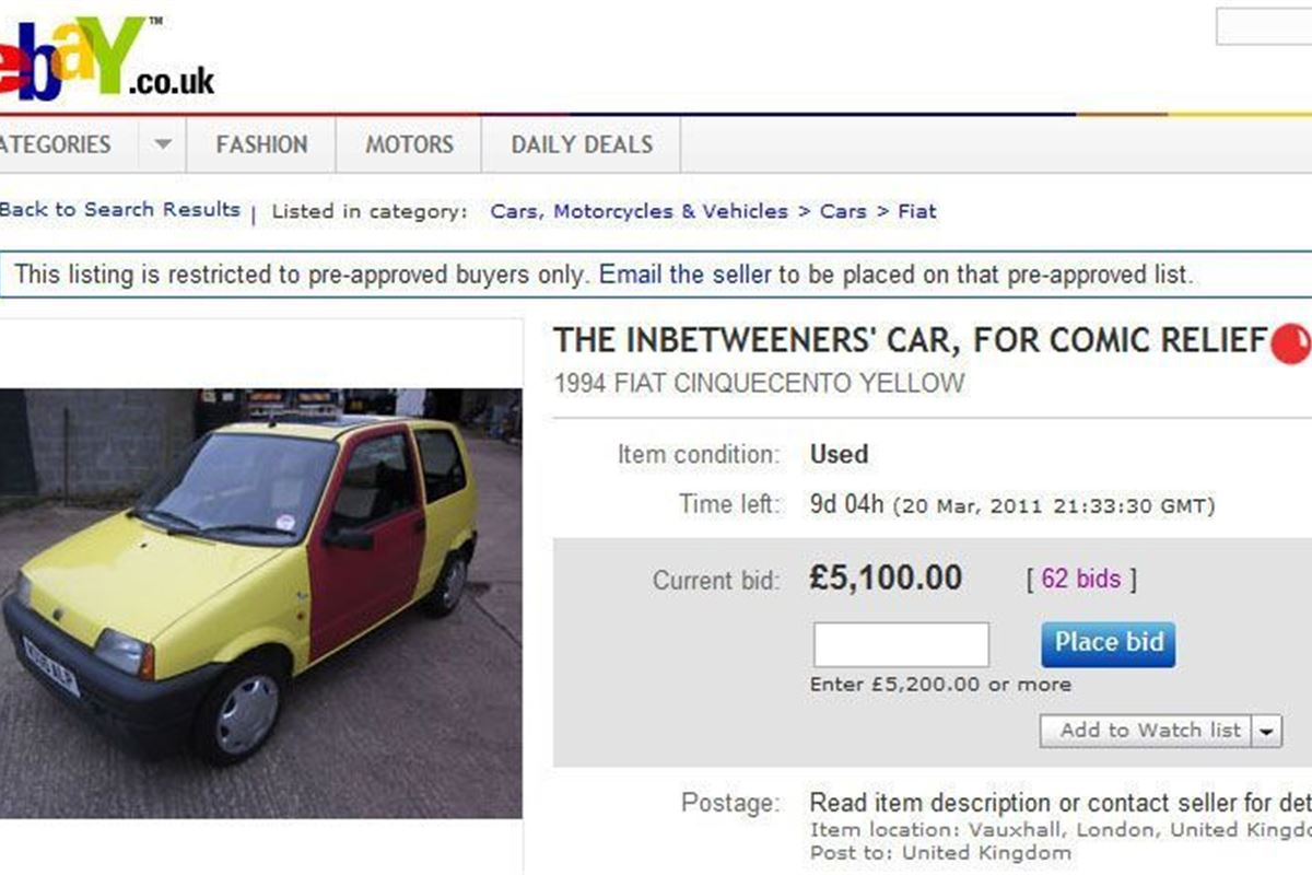 The Inbetweeners car on ebay: Could this be the UK\'s most expensive ...