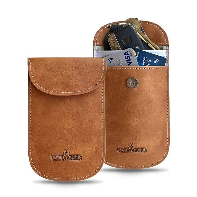 1 Pack Key Signal Blocker Pure Leather Pouch for CarsFaraday Bag for Blocking
